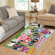 Personalized Carnival Kissing Booth St. Bernard Dog Area Rugs Mats