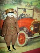 German Antique Bisque Dollhouse Doll Driver With Mustache, Goggles And Molded Cap