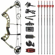 30-70lbs Compound Bow Kits Arrow Rest Arrows Sight Quiver Right Hand Hunting