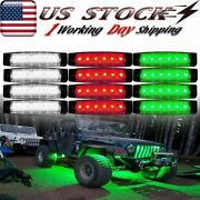 12x Red/white/green Led Rock Lights Underbody Light For Offroad Truck Boat Car