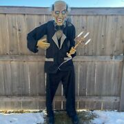 Animated 6ft Life-size Butler W/ Candelabra New - Pac Halloween 2020