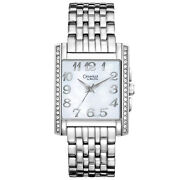 Caravelle By Bulova Womens Stainless Steel Watch, Mother Of Pearl Dial, Crystals