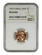 1970 S Lincoln Memorial Cent 1c Small Date Ngc Certified Ms 64 Rd Mint State Red