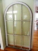 Antique Arched Bubble Glass Window From An Illinois Courthouse