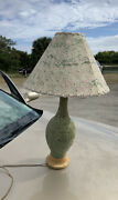 Vintage Mid Century Modern F A I P Table Lamp And Shade Floral Chalk Ware
