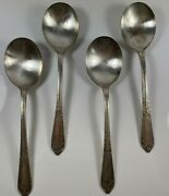 International Wm Rogers Silverplate - Cotillion 1937 - Lot 4 Gumbo Soup Spoons