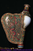 14.8 Old Tibetan Copper Painting Temple Dragon Crane Conch Shell Trumpet Horn