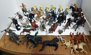 Vtg Lot Of 50+ Mounted Cowboys Indians Soldiers Horses Plastic Toy Figures Usa