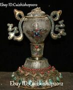 Silver Filigree Crystal Gold Gem Turquoise Conch Shell Trumpet Horn Faqi Statue