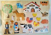 Vintage 1980s Hand Crafted Joe-di Wood Chunky Puzzle Amish Farm And Animals 16 Pcs