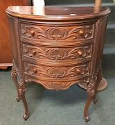 Antique Demilune Half Circle Lamp Side Table With Three Drawers