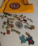 40 Vintage Lions Club International Pins And Vest 50and039s - 00and039s 10k And 10k Gf