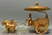 12.8 Antique Chinese 24k Gold Gems Dynasty Palace People Horse Carriage Statue