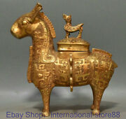 9.6 Antique Old China 24k Gold Gems Dynasty Palace Sheep Beast Zun Sculpture