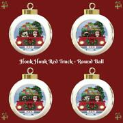 Express Delivery Red Truck Running Dogs Cats Round Ball Christmas Tree Ornament