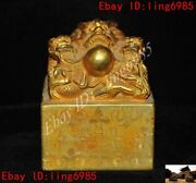 Chinese Palace Dynasty Bronze 24k Gold Gilt Dragon Beast Seal Stamp Signet
