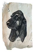 Handsigned Dated 1985 Print Artwork Dachshound As Is Dog 🐶