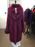 Fuscia Hot Pink Feathered Fox Coat 3/4 Length Featherweight Light Brand New