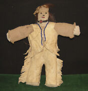 1870and039s Native American Beaded Cloth And Leather Doll With Rare Grass Scorpion