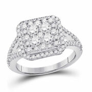 14kt White Gold Round Diamond Right Hand Cluster Ring 1-1/2 Cttw