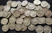 90 Silver Mercury Dimes Lot - 1916-1945 - Circulated - Choose How Many