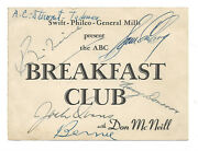 Abc Breakfast Club With Don Mcneill Radio Show Autographed Card-jack Owens-swift