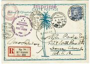 Sweden 1934 Gripsholm Winter Cruise Registered Card From Port Sudan To The U.s.
