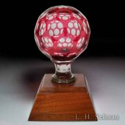 Antique Bohemian Glass Newel Post With Ruby-flash Overlay