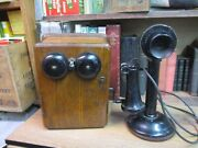 Western Electric Candlestick Telephone With Oak Ringer Box Vintage Antique