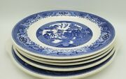 Willow Ware Royal China Vintage Blue And White 5 Plates