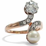 Antique Ring With Natural Pearl And Diamonds Um 1900 Gold Toi Et Moi Engagement