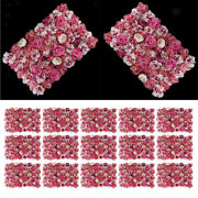 15pcs Wedding Flowers Wall Panel Floral Red White Silk Romantic Decorations
