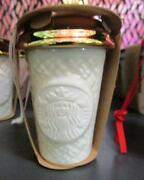 2016 Starbucks Cofee Christmas White Gold Ornament Sweater Knit To Go Cup