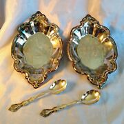 Haunted Antique Silver Plate International Silver Co. 2 Serving Trays + 2 Spoons