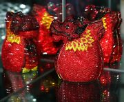 Timmy Woods Beverly Hills Fire Dragon Foo Dog Incredible Crystal Purse