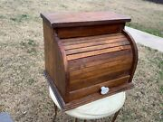 Vintage Roll Top Bread Box Wood Rustic Primitive Country Kitchen Wooden