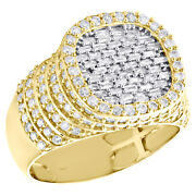 10k Yellow Gold Baguette Diamond Square Step Shank Band 15mm Pinky Ring 1.80 Ct.