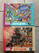 Lot Of 2 Springbok Jigsaw Puzzles- Sweet Tooth And Americana, 1000pc , 500 Pc
