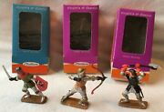 Vintage Starlux, Boxed Medieval Figures X 3, 60mm Scale Plastic.