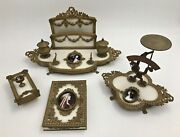 19th Century French Empire Marble And Enameled Portrait Gilt Desk Set