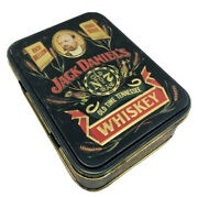 Vintage Jack Daniels Old No 7 Whiskey Tin Embossed Box With Empty Bottle Insert