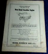 1952 West Bend Gasoline Engine Sear Roebuck Operating Instructions And Parts List