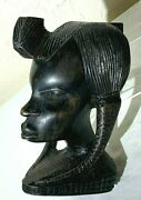 African Ebony Wood Carving Of Girls Head. Well Executed And Of Good Size.