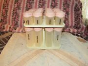 Tupperware 16 Piece Pink Spice And Seasoning Containers And 4 Piece Carousel
