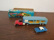 Vintage Sss Japan Tin Auto Transport Truck Toy W Box And Tin Car