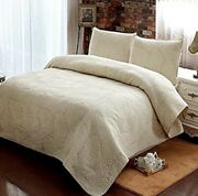 Brandream King Quilt Set Palm Quilted King Quilt Set Beige New