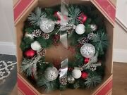 30 Inch Frosted Christmas Wreath. Red And White Bulbs.
