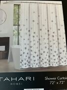 Tahari Shower Curtain Floral Taupe Gray Grey Watercolor Vines 100 Cotton