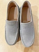 Light Blue Slip On Loafers, Suede Like Material, Ridged Sole, Size 6.5m