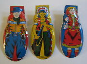 Set Of 3 Old Vintage C.1950's - Toy Clickers - Cowboy Cowgirl Indian Western